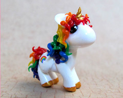 Rainbow Unicorn (DragonsAndBeasties) Tags: blue red sculpture horse orange cute green yellow statue gold rainbow colorful purple magic tail small chibi charm polymerclay fimo pony fantasy gift tiny kawaii sculpey etsy custom figurine unicorn mane horsie phonecharm premo zipperpull ittybitty