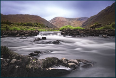 Bundorragha river Delphi Valley Co. Mayo Ireland. (Mick Bourke.) Tags: longexposure ireland sea wild fish mountains wet delphi salmon mayo secluded canon500d unspoilt sigma1020 bundorraghariver bw10xfilter crystalclearstreams