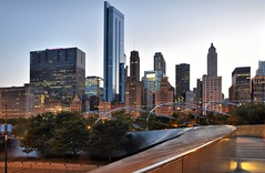 BP Bridge and The Skyline (Seth Oliver Photographic Art) Tags: chicago illinois nikon midwest cityscapes milleniumpark nightshots frankgehry pinoy downtownchicago nightscapes chicagoskyline urbanscapes bpbridge pritzkerpavilion longexposures chicagoist d90 nightexposures columbusdrive tonemapped 5secondexposure moderncities shutterspeedpriority aperturef110 modernskyscrapers setholiver1 chicagoafterdark tripodmountedshot remotetriggeredshot