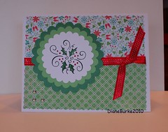 Christmas card with holly (Diane Burke - moving to ipernity) Tags: red green floral handmade holly ribbon plaid greetingcard rubberstamping christmascard papercrafts dianeburke denamistamp