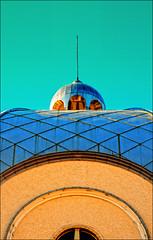 CIRCLES AND SQUARES (*Furball*) Tags: blue sky orange canada building church architecture canon rebel edmonton squares circles aquamarine tiles alberta dome xti stbarbarasrussianorthodoxcathedral