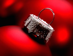 It's All About the Details (Karen_Chappell) Tags: christmas xmas red stilllife holiday detail macro closeup silver glow decoration noel ornament trim cmwdred cmwdweeklywinner