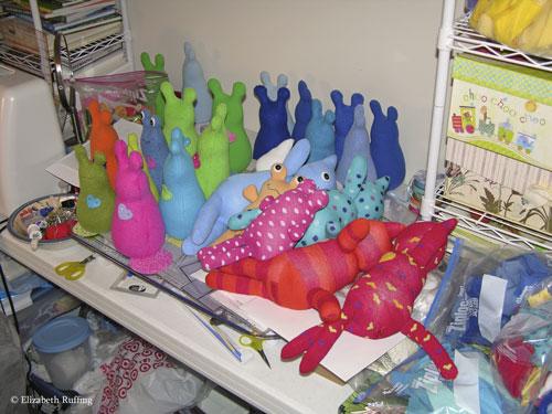 Fleece Hug Me! Slugs in progress and Hug Me Sock Kittens by Elizabeth Ruffing