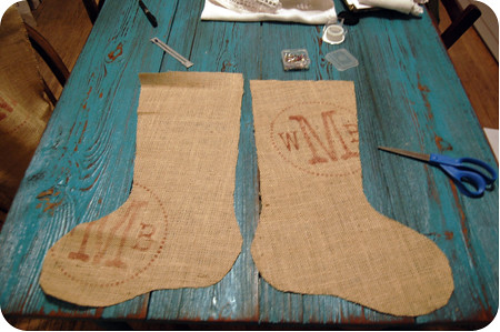 {craft}ernoon: burlap stocking - step 4