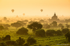 Bagan Balloons ~ Myanmar (Burma) (Martin Sojka .. www.VisualEscap.es) Tags: morning travel colors yellow sunrise landscape golden pagoda asia burma balloon vivid olympus myanmar zuiko bagan e5 1260 zd 1260mm dpslessismore