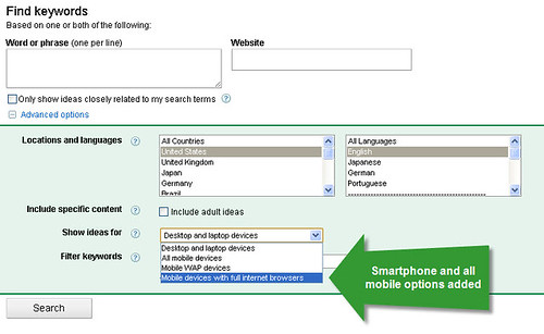 smartphone volume adwords tool