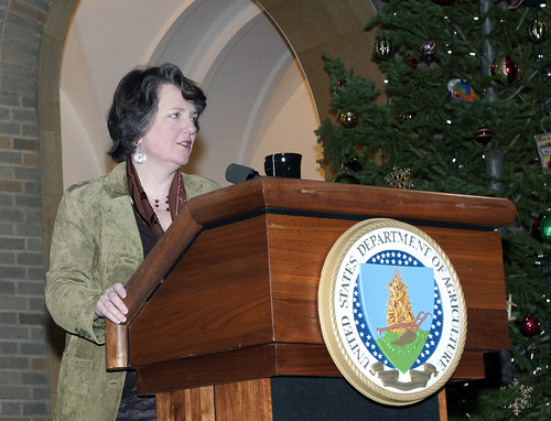 Deputy Secretary of Agriculture Kathleen Merrigan makes remarks at the Office of Tribal Relations Outreach event on the patio of the U.S. Department of Agriculture in Washington, D.C., on Wednesday, December 15, 2010.