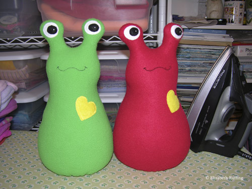 Green and Red Fleece Hug Me! Slugs by Elizabeth Ruffing
