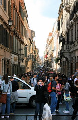Via dei Condotti (Brian Aslak) Tags: street city people italy rome roma buildings europe italia crowd piazzadispagna plazadeespaa viadeicondotti