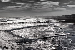 liquid metal days (nosha) Tags: ocean new november sea sky bw white fish black reflection beautiful beauty metal clouds grey pier newjersey fisherman nikon grove nj wave nb bn og shore jersey nikkor jerseyshore liquid 2010 lightroom oceangrove nosha oceanpathway