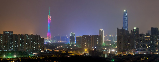 Guangzhou skyline, featuring the Canton Tower and the Guangzhou IFC