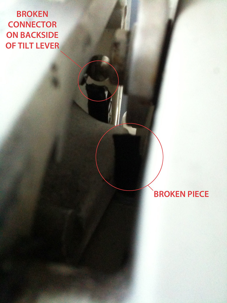 The click sound appears to have been the connector on the backside of the  tilt lever breaking. In this photo you can see the broken connector and the  broken ...