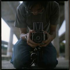 I share same birthday with Frank Zappa (19/77) Tags: selfportrait slr film mirror malaysia 1977 negativescan kiev88 mediumfromat kodakektacolorpro160 autaut canoscan8800f arsat80mmf28 myasin