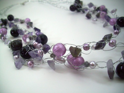"Crochet ""Purples"" Necklace w/Silver Wire & Clasp"