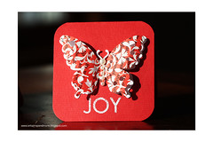 BUTTERFLY CARD (alexandra s.m.) Tags: red butterfly scrapbooking cards rouge papillon stamping heroarts resist cartes embossing tampons carterie