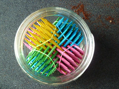 Hexastix in a jar top view