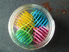 Hexastix in a jar top view