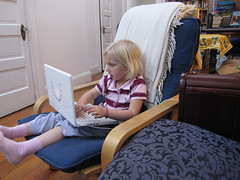 julia with laptop
