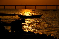 Oyster Harvest  (jason_cykwong) Tags: bridge sunset shadow sea water silhouette yellow boat seaside harvest shore seafood oyster       deepbay  silhouett     laufaushan