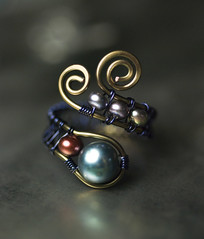 Royal Blue Cranbury Peacock Freshwater Pearl Bronze Copper Ring by Moss & Mist Jewelry (Moss & Mist Jewelry) Tags: blue red fashion bronze spiral golden hammered peacock jewelry ring copper handcrafted swirl woven etsy elegant weave artisan whimsical copperwire darkblue adjustable semiprecious gemstone cranbury wirework fashionjewelry wirewrapped size8 royalblue freshwaterpearl finejewelry size7 potatopearl adjustablering copperring vintagebronze wireweave buttonpearl genuinegemstones mossmistjewelry