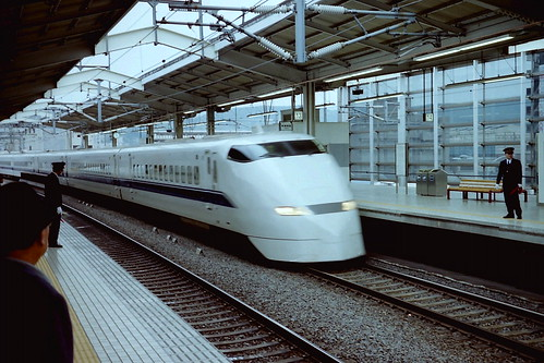 Shinkansen approaching Kyoto station