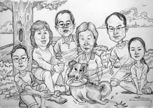 family caricatures at park