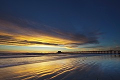 southern california sunset (Eric 5D Mark III) Tags: ocean california blue sunset sky cloud seascape color reflection texture beach canon landscape gold pier twilight sand unitedstates wave atmosphere wideangle newportbeach orangecounty tone ef14mmf28liiusm eos5dmarkii