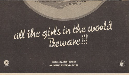 01/02/75 Grand Funk - All The Girls In The World Beware!!! Tour Ad (Bottom)