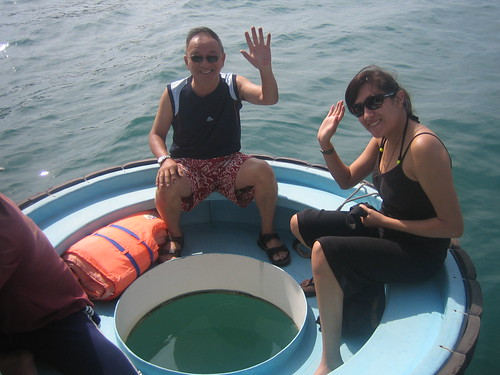 Taking a ride on the colander boat