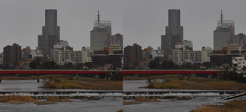 Central of Sendai, stereo parallel view