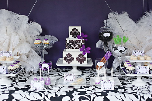 Damask Purple Dessert Table