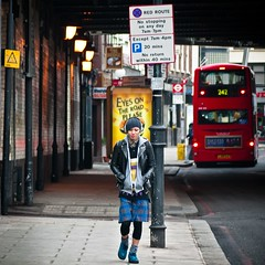 Hoxton Headphones (Magic Pea) Tags: street urban man bus london fashion walking photography photo streetphotography shoreditch hoxton trendy headphones androgyny tartan eastlondon androgynous magicpea
