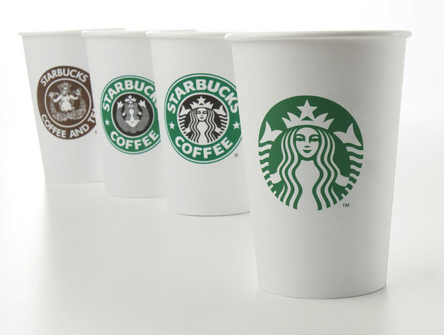 Starbucks logos in cups