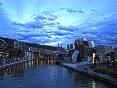 city suite (duboramic) Tags: bridge light sky rio museum clouds river puente north bilbao guggenheim basque vasco connection bilbo