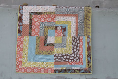 Down the Rabbit Hole  - front (paisley & lace) Tags: orange grey embroidery quilts applique threeflowers modernquilt freemotionquilting pearlcotton