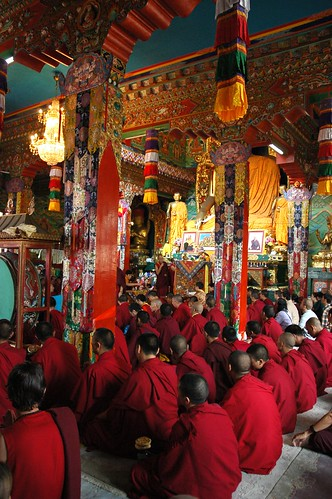 Dharma muffins and tea break, assembly of monks, nuns, lay people, Lamdre, Dedication of merit prayers, Tharlam Monastery of Tibetan Buddhism, Boudha, Kathmandu, Nepal