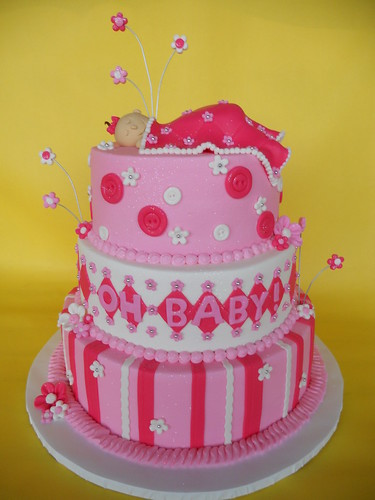 Shades Of Pink Baby Shower Cake