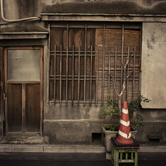 Home with Potted Plant and Safety Cone (jacob schere [in the 03 strategically planning]) Tags: street door wood urban plants house plant tree geometric home window glass stain japan wall square handle tokyo wooden cone geometry decay jacob tube pipe shapes safety stained communication plastic pottedplant doorknob covered worn weathered geometrical shape crate lucid urbangarden piping privacy decaying potted schere grii tubbing slatted jacobschere lucidcommunication somewherebetweenshinagawaandginza