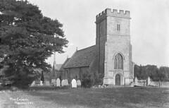 1910: The Church of St. John the Baptist at Hannington, Wiltshire (Postcard) (Local Studies, Swindon Central Library) Tags: 1910 1910s hannington church tower gravestones hooper williamhooper postcard trees stjohnthebaptist stjohn wil04