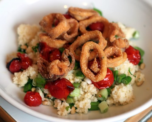 Light Lunch: Calamari with Jammy Roast Tomatoes, Scallions, Pine Nuts & Parsley
