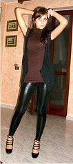 (wetlookleggings) Tags: black hot sexy wet girl look leather shiny slut liquid leder pvc slutty leggings wetlook