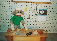 Sock Monkey Work Shop (monkeymoments) Tags: hammer saw workshop sockmonkeys sockmonkey fathersday wrench workbench pliers woodshop girliecalendar sockmonkeyhumor sockmonkeyfun