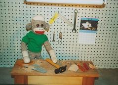 Sock Monkey Work Shop (monkeymoments) Tags: hammer saw workshop sockmonkeys sockmonkey fathersday wrench workbench pliers woodshop girliecalendar sockmonkeyhumor sockmonkeyfun
