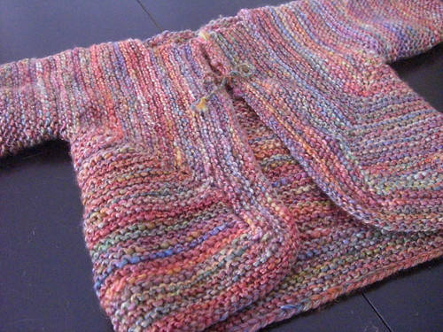 Rainbow Handspun Baby Surprise Sweater - Closeup