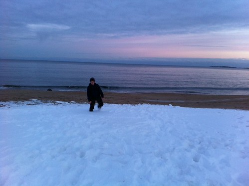 deep snow on the beach