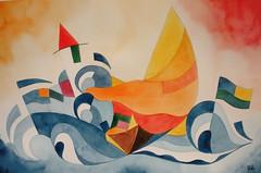 acq57 (Guye Artworks) Tags: studio mare barche musica watercolors watercolours venezia colori ballo regata macerata futurismo vele acquarello acquarelli futurista guttuso