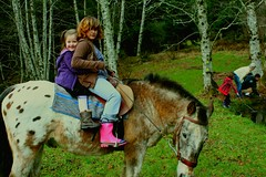 Haley and Sophie with Snickers (jkeenan501) Tags: girls horse appaloosa pond ride pony horseback