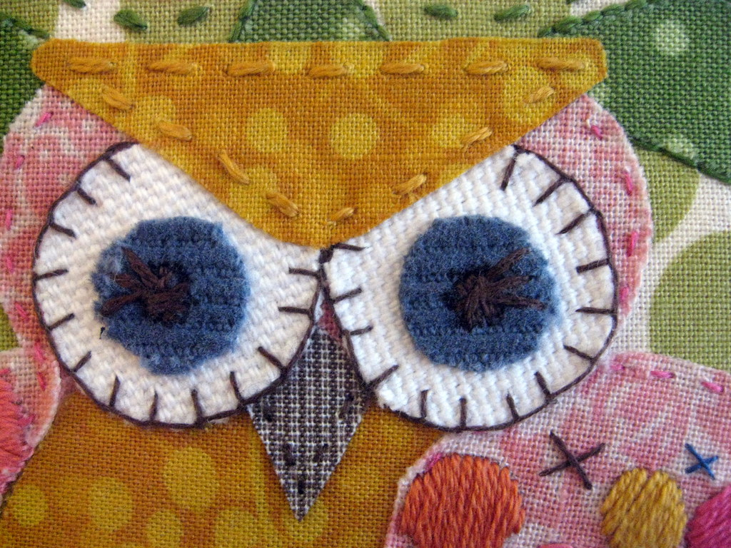 owl embroidery, eyes.