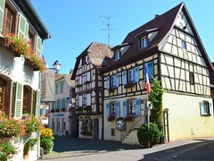 half-timbered houses (mujepa) Tags: halftimbered houses flowers eguisheim alsace maisons colombages fleurs