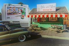 Duke and Min's (khendrix21) Tags: roadside drivein 1948 buick roadmaster chevrolet fleetline 124 scale diecast forced perspective billboard